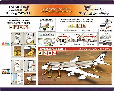 Safety Card IRANAIR Boeing 747SP *EXTREMELY RARE* Iran Air Form No 920-2-6