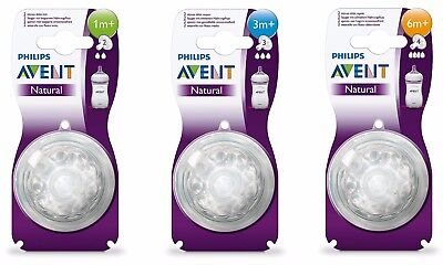 Philips AVENT Natural Teats. Slow, Medium, or Fast Flow. Choose 1, 3 or 6+ month