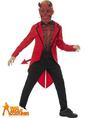 Boys Devil Costume Kids Deluxe Halloween Day Of The Dead Fancy Dress Outfit