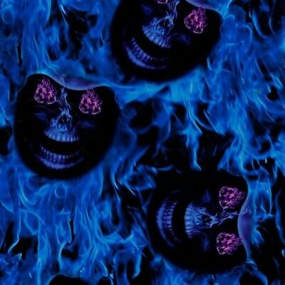 Blue Hades Skulls Hydrographics Film FOLDED Flames Hydro Dipping