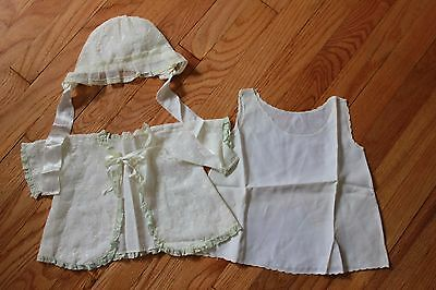 Vintage Lot of Baby Clothes Jacket, Bonnet, Slip Lace Edging Embroidered