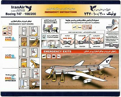 Safety Card IRANAIR Boeing 747-100/200 *EXTREMELY RARE* Iran 920-5-53 yellowish