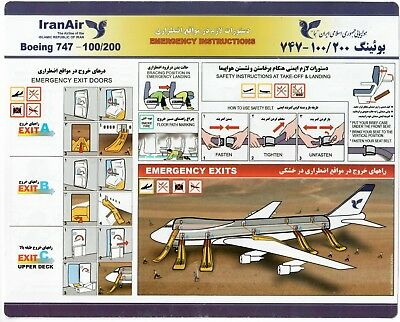 Safety Card IRANAIR Boeing 747-100/200 *EXTREMELY RARE* Iran 920-5-53 blue tint