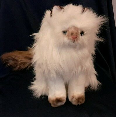 """Russ """"The Yomiko Collection"""" 10"""" White/Brown Long Haired Cat Plush Toy 4492  NEW"""