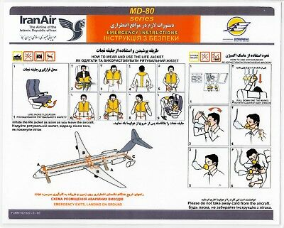 Safety Card IRANAIR BUKOVYNA AIRLINES MD-80 *EXTREMELY RARE* 920-5-60 Iran Air