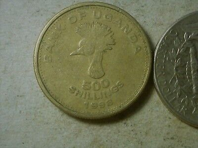 Uganda 500 shillings 1998 Crane Bird coin . Thick ,like a UK pound.