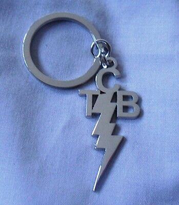 Elvis Presley Taking Care of Business Silver/Nickle TCB KeyChain / KeyRing.