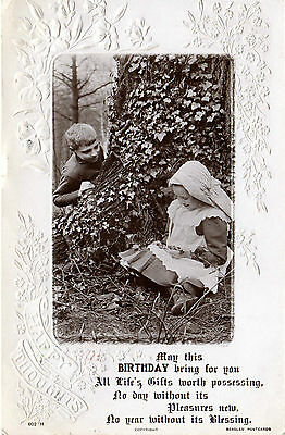 UK Beagles Birthday postcard Children in forest, used