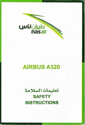 Safety Card + Air sickness bag NASAIR Airbus A320 Nas Air Flynas Spucktüte