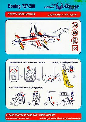 Safety Card IRAN ASEMAN Boeing 727-200 dark blue *EXTREMELYRARE*PERFECT*ORIGINAL