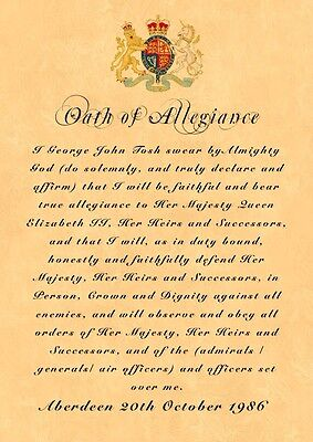 British Army Oath Of Allegiance All Regiments