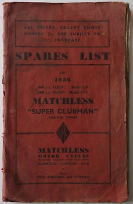 Matchless G9 500cc and G11 600cc Super Clubman Spare Parts List - 1956