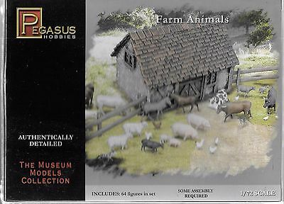 Pegasus Farm Animals, PIGS, COWS, DONKEYS and More in 1/72 7052 ST