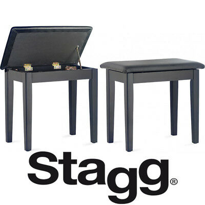 Stagg Piano Bench with Padded Black Top and Storage Compartment Matte Black