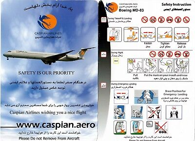 Safety Card CASPIAN AIRLINES MD-83 *SUPER RARE* Iran Air Folder