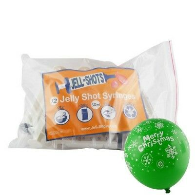 12x60ml Syringe Shooter Jelly Shots Cocktail Syringe 10 FREE Christmas Balloon A