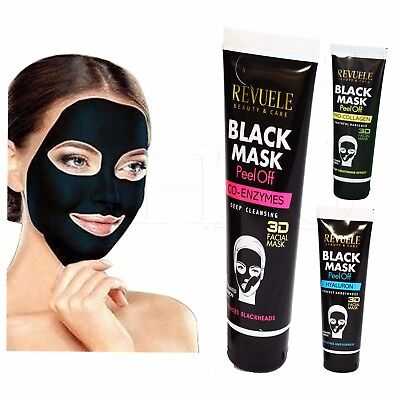 REVUELE Charcoal Blackhead Remover Peel Off Facial Cleaning Black Face Mask 80ml
