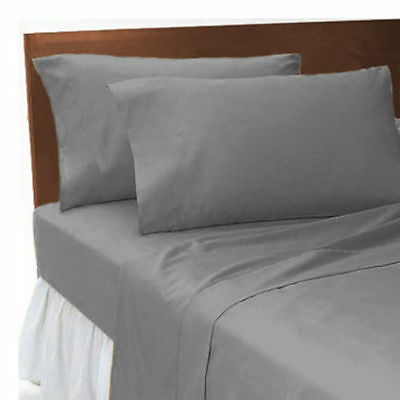 T 200 Grey Egyptian Cotton Fitted Sheet Single Double King Super King