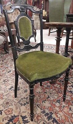 Elegant Edwardian chair/salon chair in dark wood & green velvet