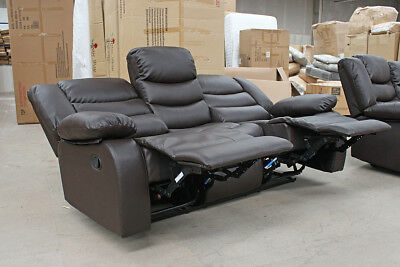 VARDO 3 Seater Reclining Brown Leather Recliner Sofa CLEARANCE / BRAND NEW