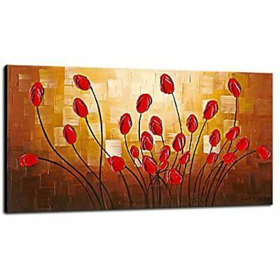 - Large Budding Flowers Modern Stretched And Framed 100% Hand Painted Abstract