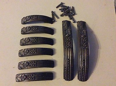 Art Deco door /  drawer Handles  6 small 2 large