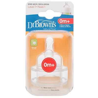 2 x Dr Brown's Options Level 1 Baby Bottle Teats Pack Wide BPA Free, 0m+ 0-3M