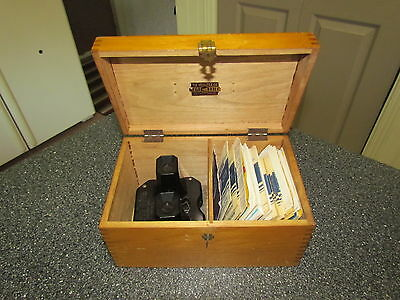 RARE Vintage Viewmaster viewer + reels lot---books, wooden box