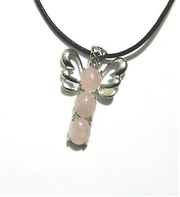 Rose Quartz Gemstone Crystal Butterfly Pendant Leather Necklace