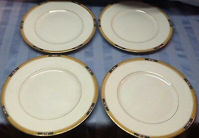 "4 Antique KT&K Knowles Taylors China 8"" Luncheon Plates Gold Band Rims w Roses"