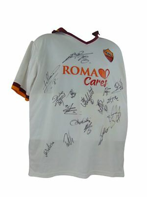 As Roma Signed Football Shirt+Photo Proof*see The Players Sign & Hold This Shirt