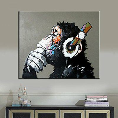 Animal Painting Abstract Modern Wall Art For Living Room Chimp 100% Oil On Large