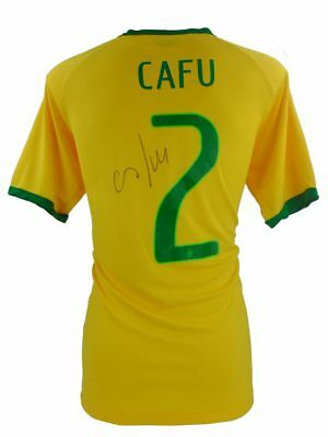 Cafu Signed Brazil Football Shirt + Photo Proof *see Cafu Sign This Shirt*