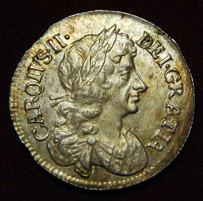 GB Charles II silver fourpence 4d 1679 - GREAT!!!