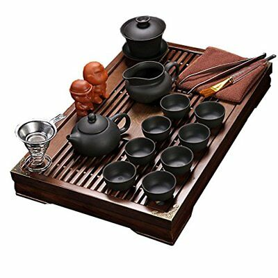 ufengkeExquisite Ceramic Porcelain kungfu Tea Cup Set with Lid and Wooden Tray-E