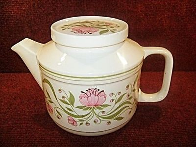 STAFFORDSHIRE Pink Floral 2 PINT CAPACITY TEAPOT - FREE UK POSTAGE