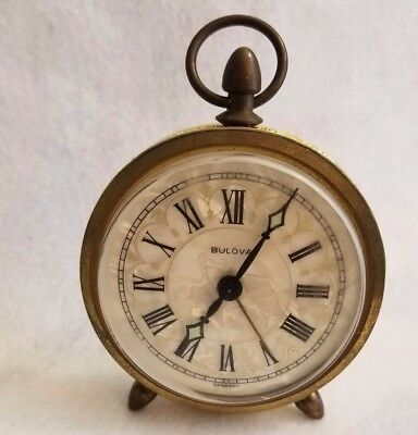 BULOVA Mother of Pearl VINTAGE Round Alarm CLOCK Made In Germany Steampunk