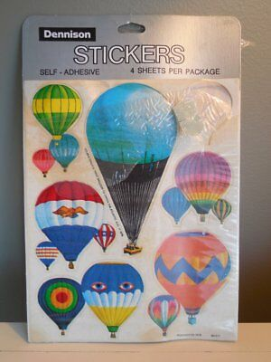 RARE Vintage HOT AIR BALLOONS Dennison STICKERS 1978 DOUBLE EAGLE II 99% In Pkg