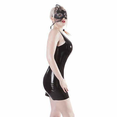 Rubberfashion Latex Minikleid, armfreies Latexkleid Trägern
