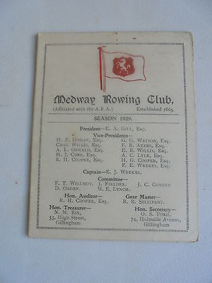 1929 Medway Rowing Club Fixture List Booklet