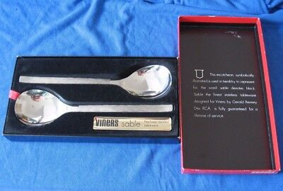 Two Vintage Retro Viners Sable Gerald Benney Table Spoons 21.3 cm Boxed Mint