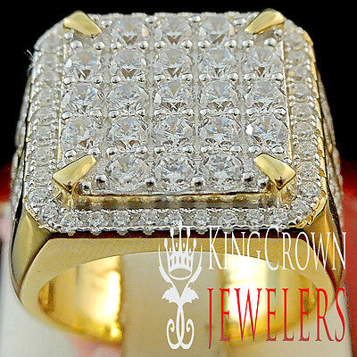 Mens Real 10K Yellow Gold Sterling Silver Big Look Lab Diamond Pinky Ring Band