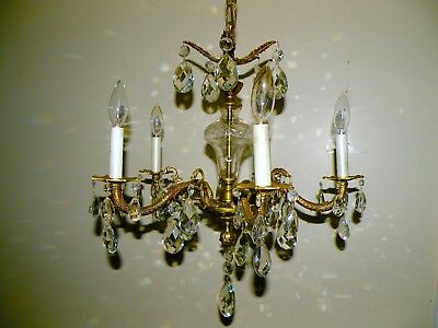 Petite Antique Brass 5 Arm Chandelier Adorned with Crystal Prisms