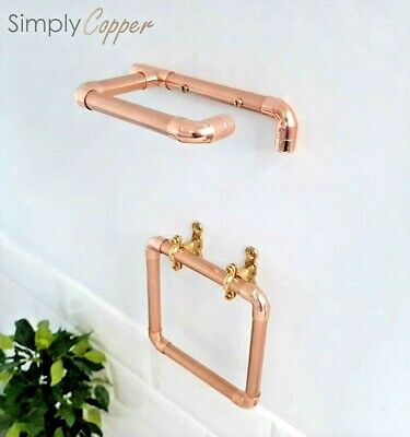 Copper Toilet Roll Holder & Towel Holder Ring + Brass Fixtures - Rose Gold