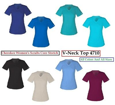 Cherokee Womens Scrubs Core Stretch 4710 V Neck Top All Colors All Sizes NWT