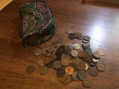 OLD PURSE FULL OF OLD FARTHINGS. FROM THE 1800s ONWARDS. LOOK,,!,