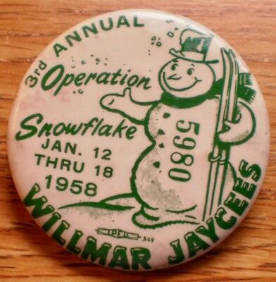 """1958 3rd annual Operation Snowflake Wilma, Mn. Jaycees 2 1/4"""" Cell Lt. Stains"""