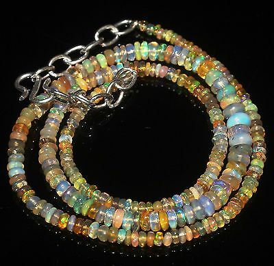 35 Crt awesome rare Natural Ethiopian fire Opal Gemstone necklace LED GIFTBOX