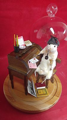 *Anthropomorphic Taxidermy Mouse Sherlock Holmes Glass Dome Display-detective