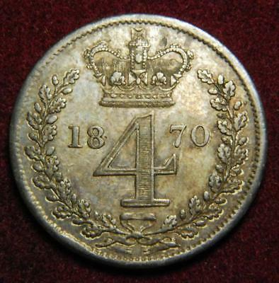 GB Victoria silver Maundy fourpence 4d 1870 - NICE!